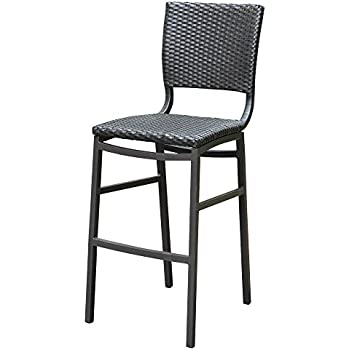 International Caravan Barcelona Resin Wicker/Aluminum Patio Bar Stool (Set  Of 2)