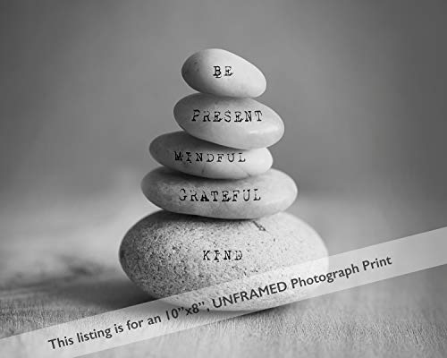 - Mindfulness Stacked Stone Black White Photography Wall Art Print with Positive Affirmation Words