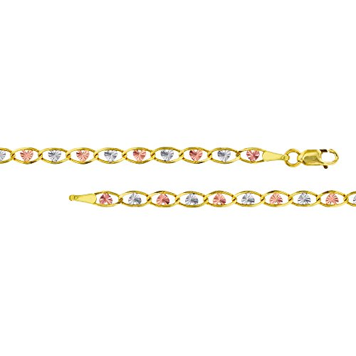 14K Gold Tri-Color 3.50mm 20'' Heart-Love Valentino 060 Chain by Decadence
