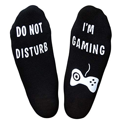 IF YOU CAN READ THIS Funny Saying Knitting Word Combed Cotton Crew Wine Coffee Beer Socks for Men Women (Medium, Gaming Black)