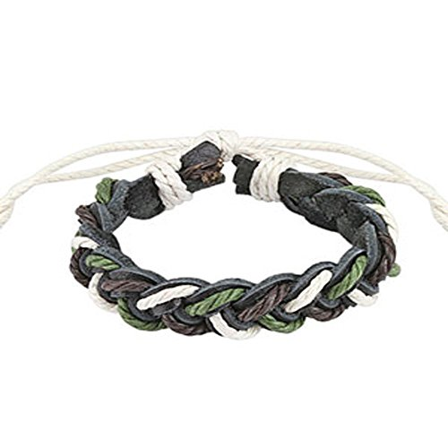 Tri- Color Braided Leather Bracelet with Drawstrings, Adjustable Size by Sliding Tie-Knot Closure and One Size Fits Most (Extends upto 10