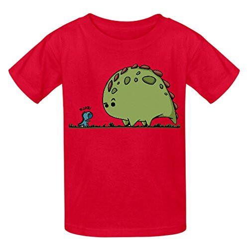 Cute Dino Boys' Crew Neck Print Shirts Red (Slytherin Symbol)