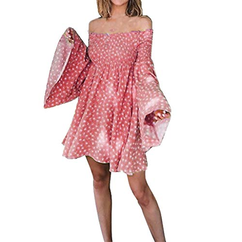 Sunhusing Ladies Sexy Off Shoulder Long Sleeve Flare Sleeve Small Floral Print Frilled Waist Mini Short Dress Red ()