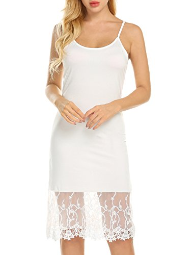 Zeagoo Women's Lace Trim Chiffon Ruffle Camisole Slip Top/Tank Dress Extender, 2-white, Large