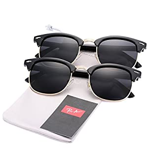 Pro Acme (Pack of 2) Semi Rimless Polarized Clubmaster Sunglasses for Men Women