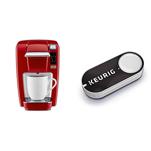 Keurig K15 Single Serve Compact K-Cup Pod Coffee Maker, Chili Red & Keurig K-Cup Pods Dash Button by Keurig