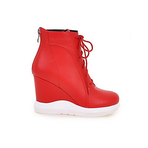Low top Round Red Toe Heels High Solid Boots Material Allhqfashion Women's Soft Closed xw8q08O