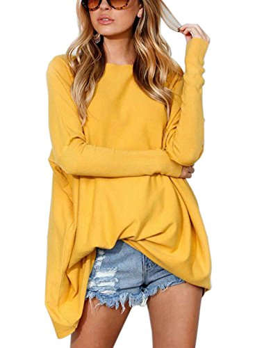 FFLMYUHULIU Women's Oversized Casual Baggy Loose Pullover Boat Neck Sweater Tops - Mohair Yellow