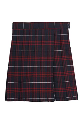 School Apparel Skirt Plaid (French Toast Girls' Big Plaid Pleated Skirt, Navy & Red, 20)