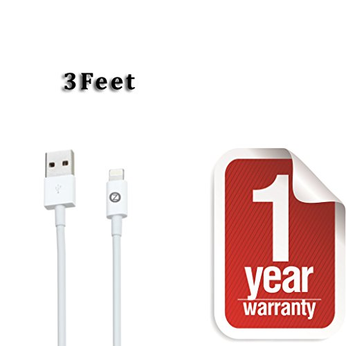 Zenotech USB Sync Data Charging Lightning 3 Ft Cable for iPhone 5 / 5C / 5S / 6 & 6 plus (IOS 8 Supported) iPad Mini iPod Touch 7th generation White