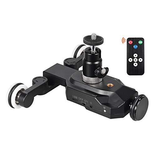 Honeytecs Wireless Motorized Camera Video Dolly Rolling Slider Dolly Car 10 Speed Adjustable Chargeable Mini Slider with Remote Control Phone Holder Ball Head Compatible with Canon