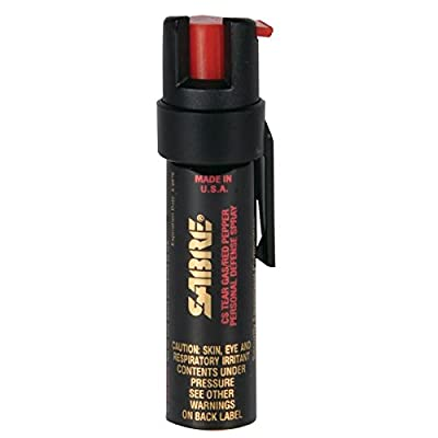 SABRE 3-IN-1 Pepper Spray - Police Strength - Compact Size w/ Clip - Standalone Unit – Also Available w/ Optional SABRE Red Pepper Spray Practice Canister (Max Protection - 35 shots, up to 5x's more)
