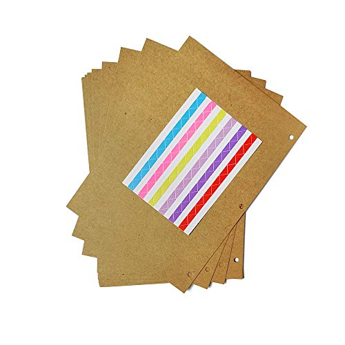 ZEEYUAN Scrapbook Pages 26cm x 18.5cm, Brown Refill Pages for World Map Photo Albums 10pcs ...