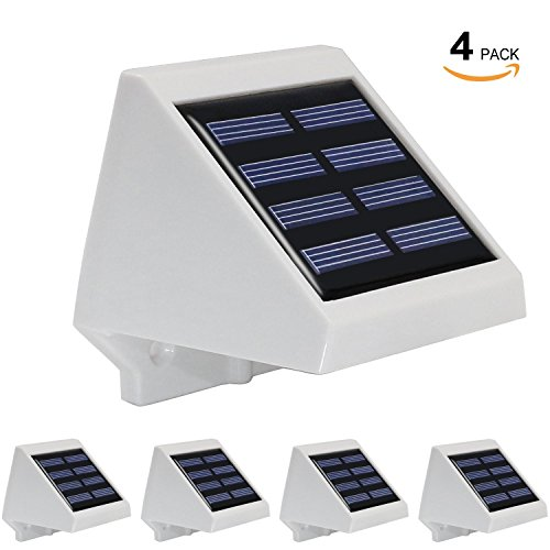 4 Pack Dusk-to-dawn Solar Powered Outdoor LED Step Light, IP65 Waterproof Rate for Wet Locations, 3000K Warm White, Decorative Lighting for Stairs, Deck, Patio - Wet Location Step