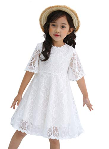 Youwon Flower Girl Lace Dress Baptism Wedding Pageant Gown First Communion Country Dress 2-6 7-16 Off-White