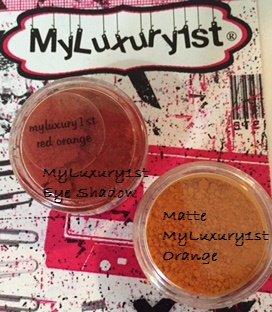 2 Loose Pigment Eye Shadows Reddish Orange and Matte Orange