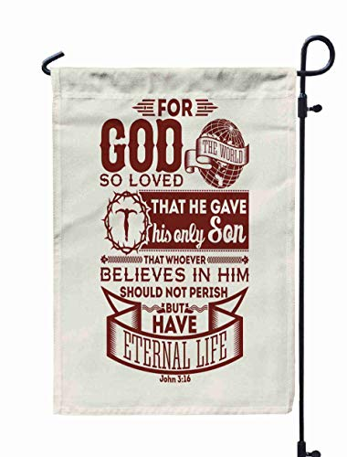 Shorping Easter Garden Flag, 12x18Inch Bible Typographic God So Loved The World That He His Only Son Believes in for Holiday and Seasonal Double-Sided Printing Yards Flags]()