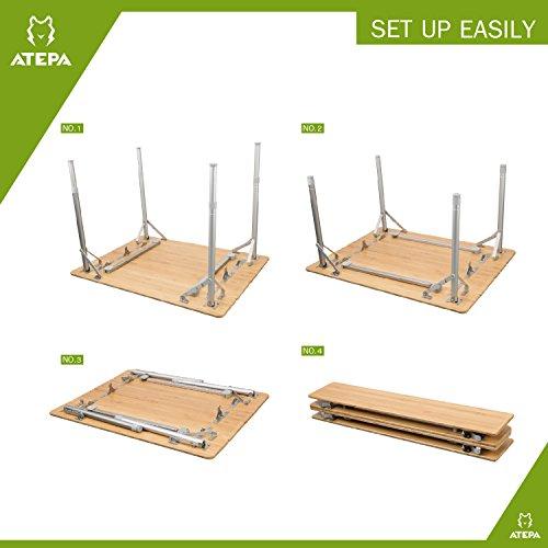 ATEPA 4-Fold Bambu Heavy Duty Adjustable Height Aluminum Frame Folding Bamboo Table with Carry Bag by ATEPA (Image #2)
