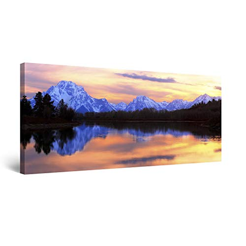 (STARTONIGHT Canvas Wall Art Mountain Mirror - Landscape Framed 24 x 48 Inches)
