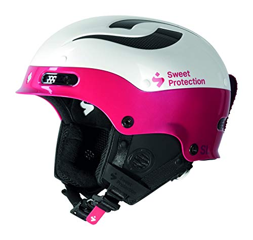 Sweet Protection Women's Trooper II SL Slalom Race Ski Helmet, Gloss White/Rubus Red, Medium/Large