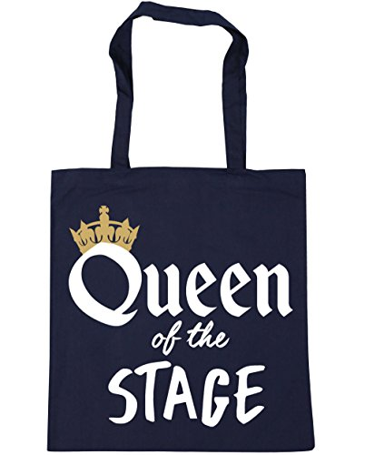 HippoWarehouse Queen of the Stage Tote Shopping Gym Beach Bag 42cm x38cm, 10 litres French Navy