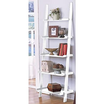 EHomeProducts VD 51811WHHW White 5 Tier Leaning Ladder Book Shelf