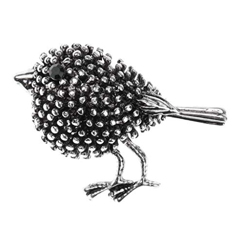 Fashion Women Rhinestone Crystal Flower Animal Bee Brooch Pin Jewelry Party Gift (Color - Ancient Silver Bird Diamond Br.) ()