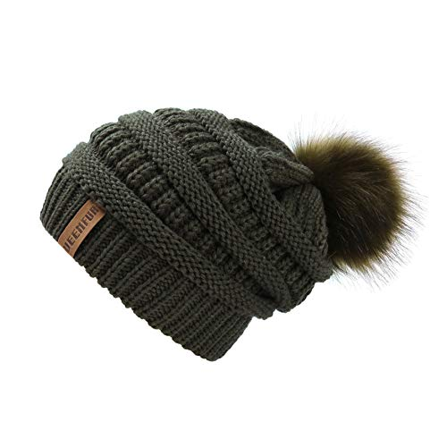 Womens Beanie Olive - QUEENFUR Women Knit Slouchy Beanie Chunky Baggy Hat with Faux Fur Pompom Winter Soft Warm Ski Cap (Dark Olive)