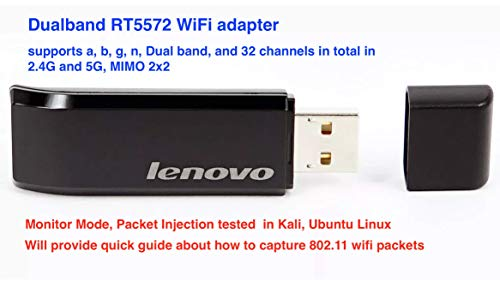 Dualband RT5572 WiFi Adapter(Monitor Mode, Packet Injection for Kali, Raspberry)