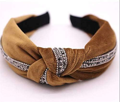 New Fall Winter Vintage Velvet Hairband Center Knotted Rhinestone Headband Customized Hair Accessories Chocolate ()