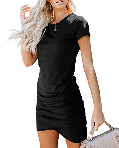 Beautife Womens Work Pencil Ruched Mini Dress Bodycon Cotton Crew Neck Short Sleeve Dresses Black
