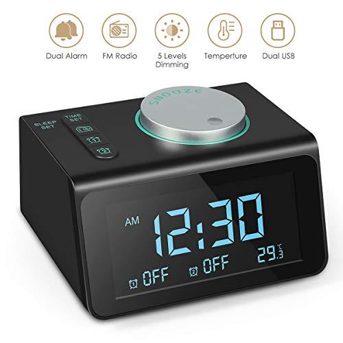 Radio Alarm Clock, 2019 Upgraded Small Alarm Clock with FM Radio, Dual USB Charging Ports, Temperature Display, Dual Alarms with 7 Alarm Sounds, 5 Level Brightness Dimmer