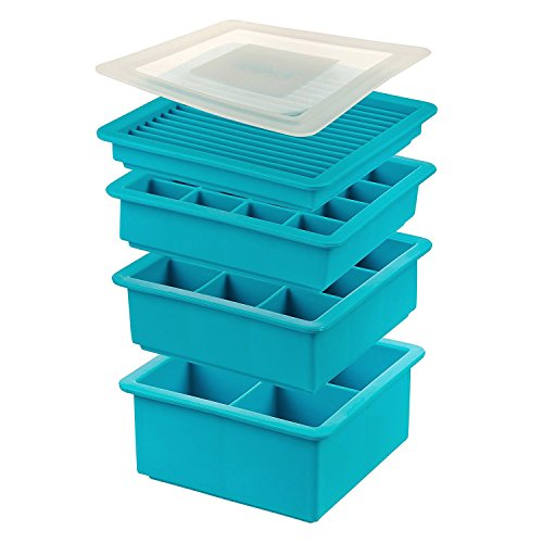 4 Pack Silicone Ice Cube Trays Set - 4 Ice Cube Mold Sizes: Extra Large, Medium, Small, and Slim Sticks for Water Bottles - BPA Free Space Saving Stackable Trays with Lid - Blue (Saving Trays Ice Space Cube)