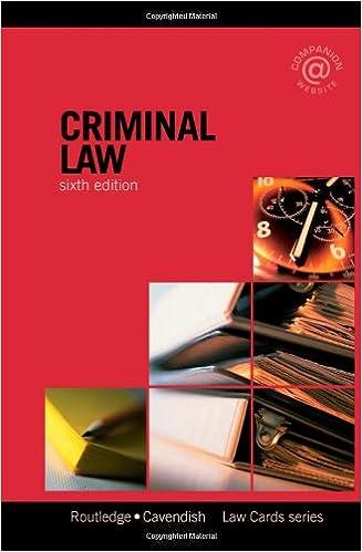 Criminal Law (Law Cards)
