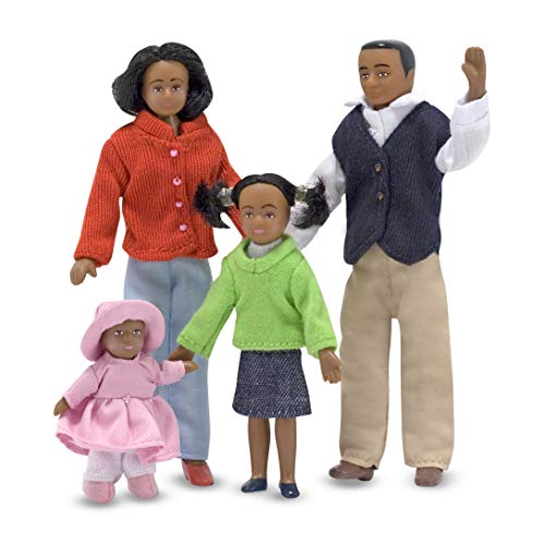 Melissa & Doug 1:12 Scale Doll Family (African American) With Mother, Father, Sister, Baby