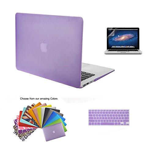 TECOOL® [3 in 1 Matt Serie] Ultra Slim Multi Color Kunststoff Hard Case,Lila US-Version Tastaturabdeckung,Freies Transparent EU Version Tastatur-Abdeckung und HD Display Schutz für Apple MacBook Air 13/13.3