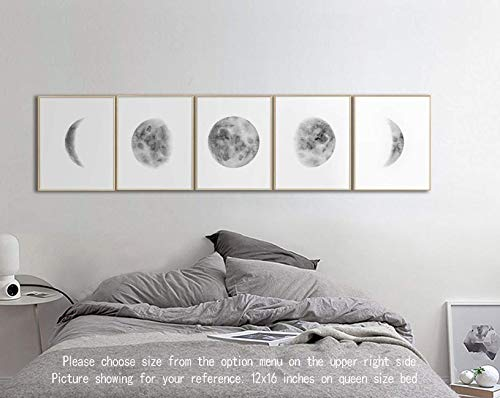 Moon Art, Moon Phases Wall Art, Above Bed Art, Wall Art for Home Office Decorations Wall Decor 5pcs/set,Black and White Pictures