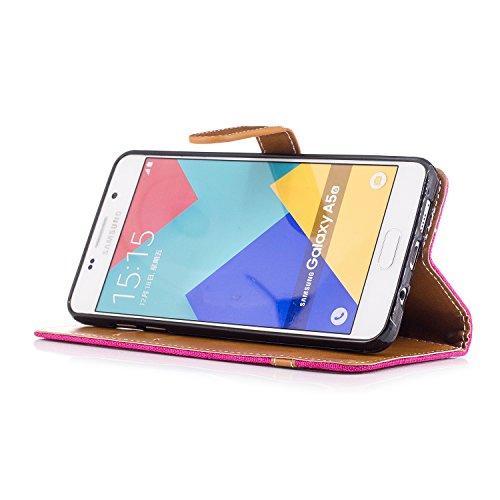 Samsung Galaxy A5 2016 A510 Funda con Tapa - TOCASO tipo libro Piel PU Case Cover Carcasa Con Retro Flor Ultrafina Piel Premiumcon Cierre Magnético Plegable cartera con Tapa Fina Piel Vegana Premium C Vaquero Pieza roja