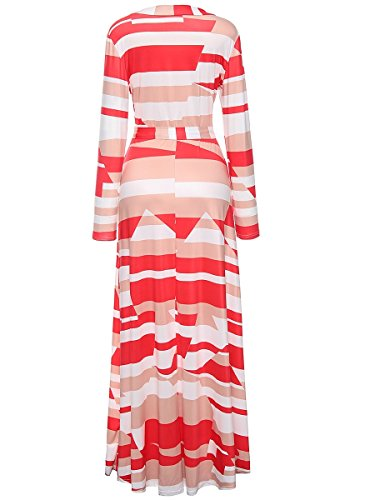 Print Dresses Geometric White Coolred Through See Long Sleeve Women Sexy CqZWwtS