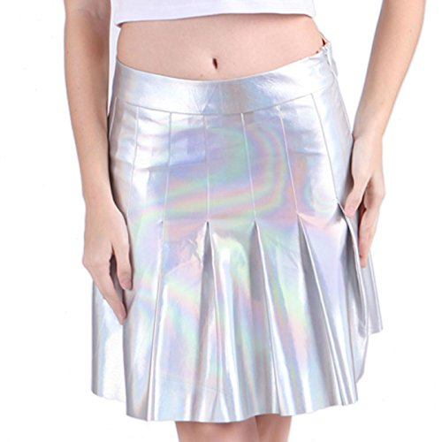 HDE Womens Reflective Holographic Skater Skirt Shiny Metallic Silver Pleated (Holo Cosplay Costumes)
