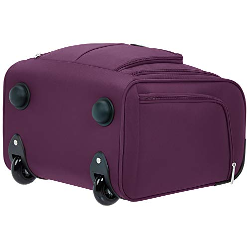 AmazonBasics Underseat Carry On Rolling Travel Luggage Bag - Purple