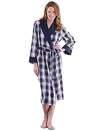 PajamaGram Snowfall Plaid Cotton Flannel Wrap Robe for Women, Blue