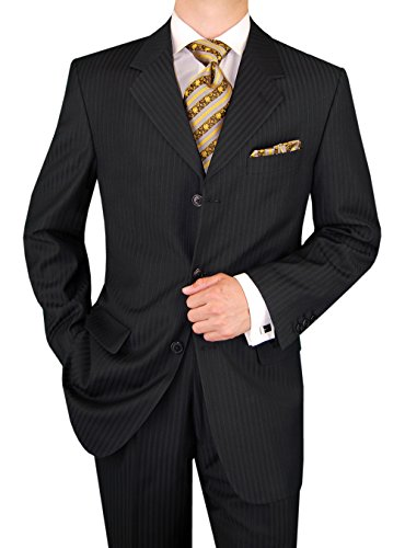 Valentino 2 Piece - Gino Valentino Men's 2 Piece 3 Button Jacket Flat Front Pants Stripe Suit (50 Long US / 60L EU/W 44