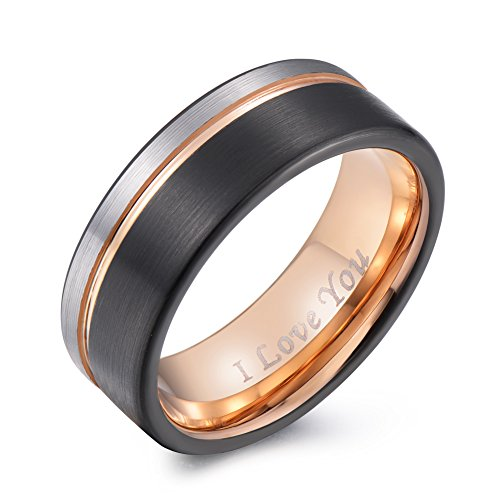 "PINONLY 8mm Tungsten Carbide Wedding Band Men Women Rose Gold Line Ring-Silver Black Brushed-Engraved ""I Love You"" Comfort (Engraved Gold Wedding Ring)"