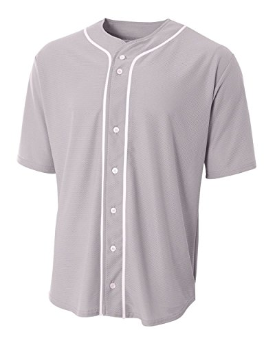 Grey Adult Large (Blank) Full-Button Baseball Wicking Jersey Full Button Adult Baseball