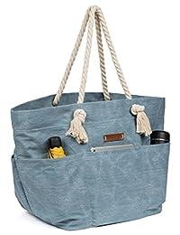Malirona Large Canvas Travel Beach Shoulder Bags,6 pockets,44 L, Weekend Holiday Perfect Bag