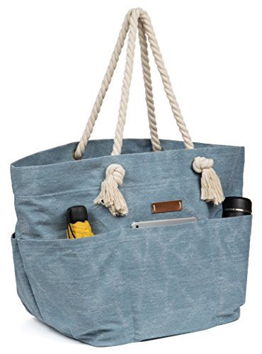 Malirona Large Canvas Beach Bag Shoulder Bags,6 Pockets,44L, Weekend Holiday Perfect Bag Light Blue
