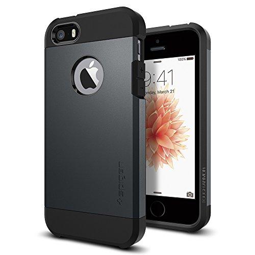 iPhone SE Coque Étui, Spigen® [Tough Armor] HEAVY DUTY [Metal Slate] EXTREME Protection Dual Layer Case for iPhone SE/5S/5 - Metal Slate (041CS20187)