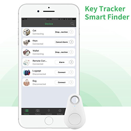 Key Finder, CC-Show Wireless GPS Phone Locator, Smart Wallet Tracker, Anything Anti Lost Alarm with Selfie Shutter/Remote Control for iOS/Android App, Drop Shape (White)
