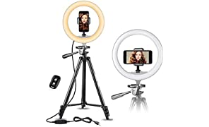 """UBeesize 10"""" Selfie Ring Light with 50"""" Extendable Tripod Stand & Flexible Phone Holder for Live Stream/Makeup/YouTube Video"""